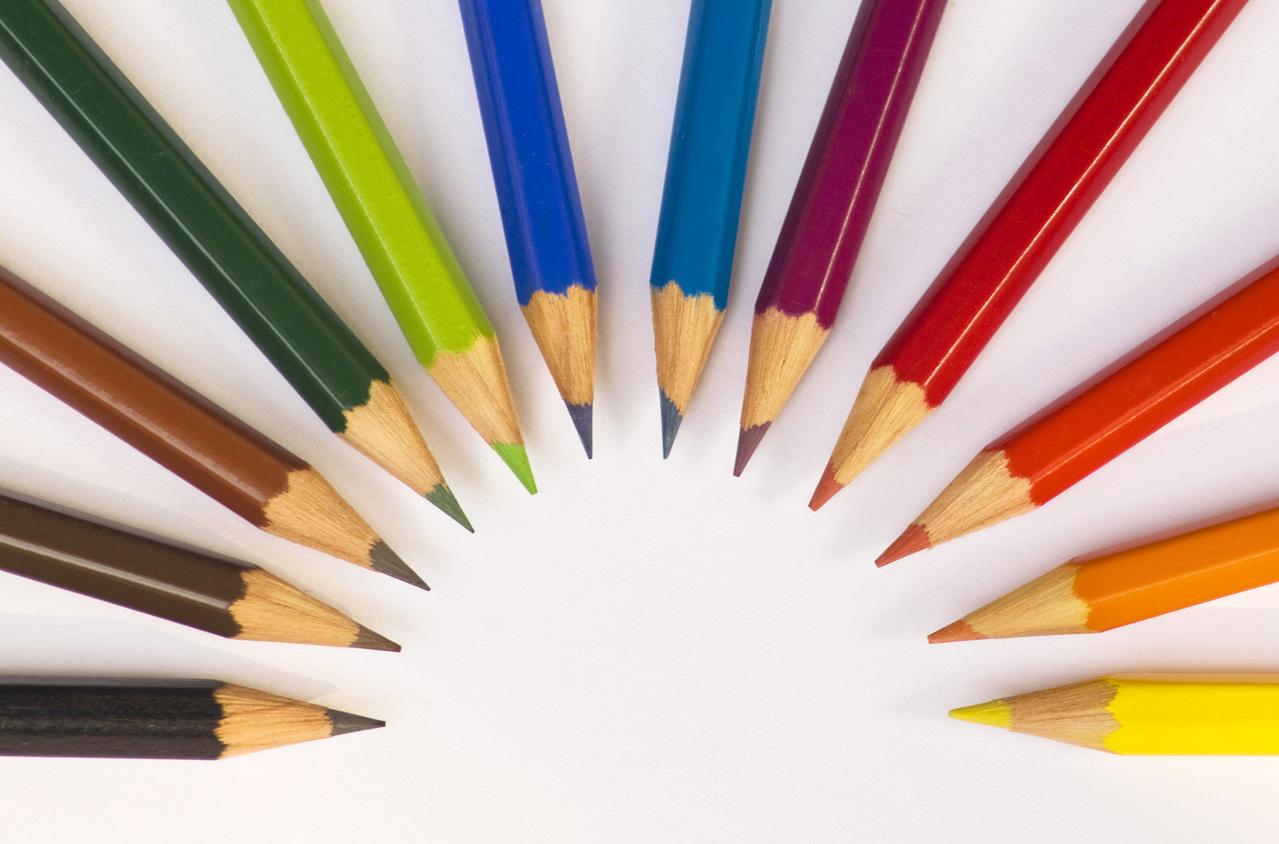 A dozen colored pencil tips