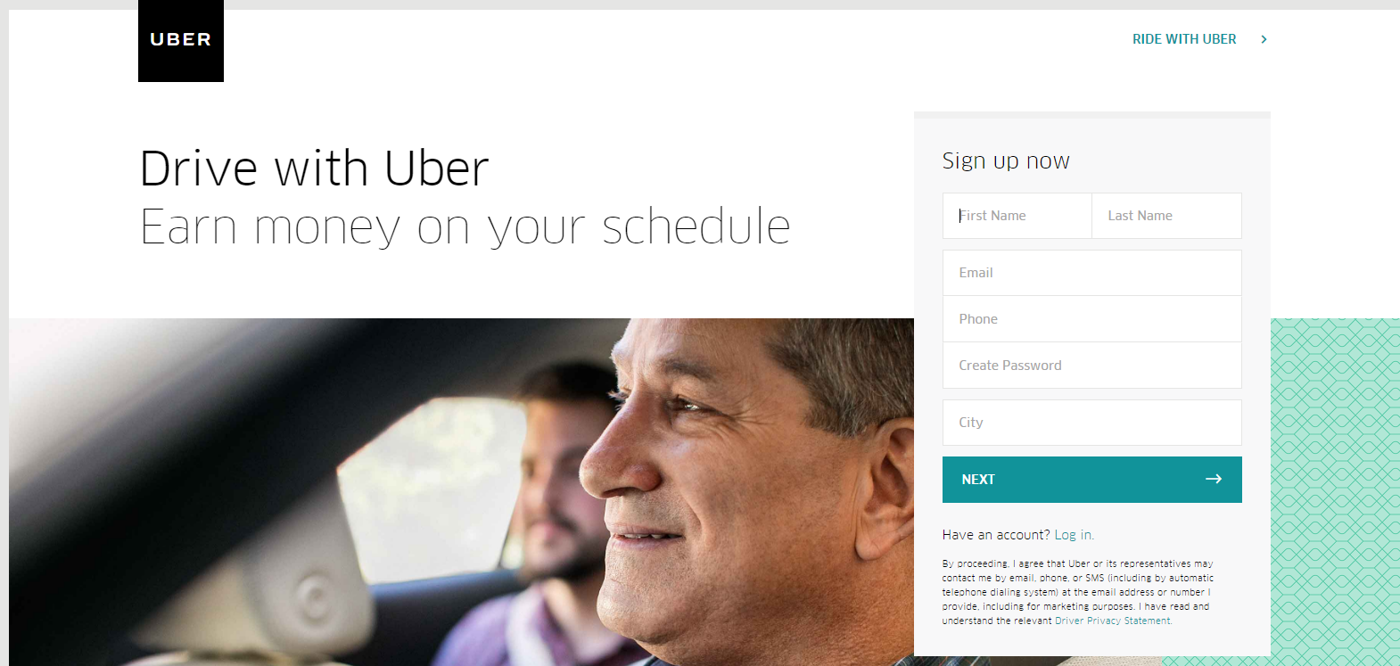 Uber Home Page